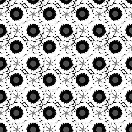 Conceptual moon crater and stars vector seamless pattern background. Grunge style celestial asteroids black white geometric backdrop. Textural all over print of astronomical objects for modern paper