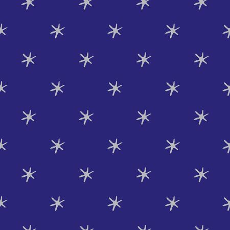 Stars in space vector seamless pattern background. Silver childlike drawing of celestial planets on indigo backdrop. Conceptual space object design. All over print for Christmas celebration packaging