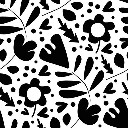 Wild meadow flowers seamless vector pattern background. Botanical florals black and white backdrop. Folk country style millefleurs design. Modern all over print for garden and nature product concept Illustration