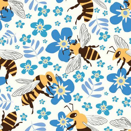 Vector honey bee and Forget-me-not flower seamless pattern background. Flying insect and floral blue white backdrop. Folk country millefleur design. Modern all over print for garden and nature concept Illustration