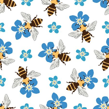 Vector honey bee and Forget-me-not flower seamless pattern background. Flying insect and floral blue white backdrop. Folk country style design. Modern all over print for garden and nature concept Illustration