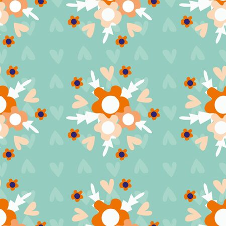 Wild meadow flowers seamless vector pattern background. Bouquets of florals orange teal backdrop. Folk country style geometric design. Modern all over print for garden and nature product concept.
