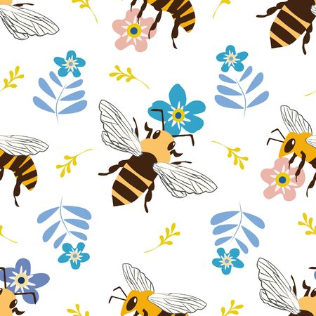 Vector honey bee and Forget-me-not flower seamless pattern background. Flying insect and floral blue white backdrop. Folk country millefleur design. Modern all over print for garden and nature concept Ilustração