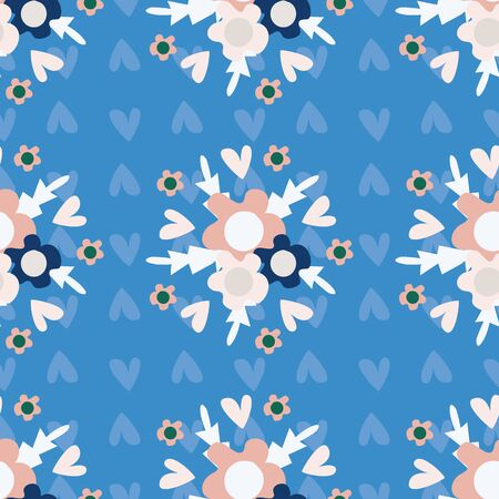 Wild meadow flowers seamless vector pattern background. Bouquets of florals blue pink backdrop. Folk country style geometric design. Modern all over print for garden and nature product concept.