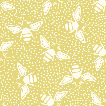 Honey bee vector seamless pattern background. Vintage monochrome hand drawn flying insect on dense dotted yellow backdrop. Garden bug repeat. All over print for summer, food, conservation concept. Illustration