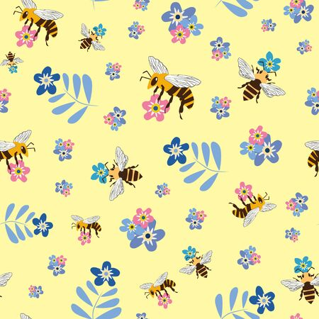 Vector honey bee and Forget-me-not flower seamless pattern background. Flying insect and floral blue, pink, yellow backdrop. Folk country millefleur design. All over print for fabric or stationery