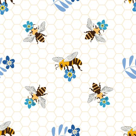 Vector honey bee and Forget-me-not flower seamless pattern background. Flying insect and florals on honeycomb backdrop. Hand drawn repeat. Modern all over print for nature and conservation concept