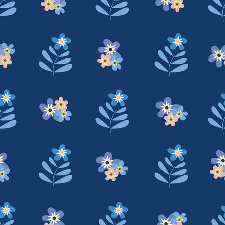 Wild meadow flowers seamless vector pattern background. Groups of Forget-me-not florals pink blue backdrop. Botancial geometric design. Modern simple all over print for fabric, packaging, kitchen