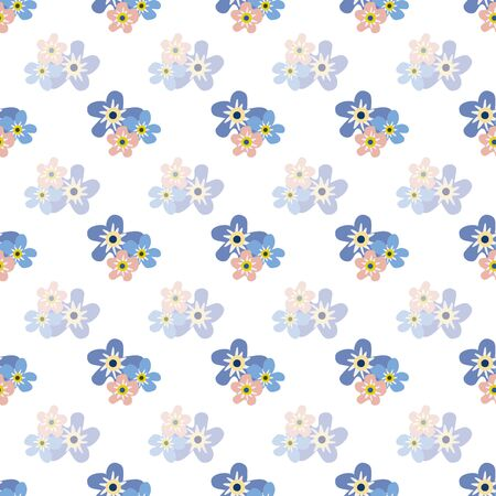 Wild meadow flowers seamless vector pattern background. Groups of Forget-me-not florals blue white backdrop. Botanical geometric design. Modern simple all over print for fabric, packaging, kitchen Illustration