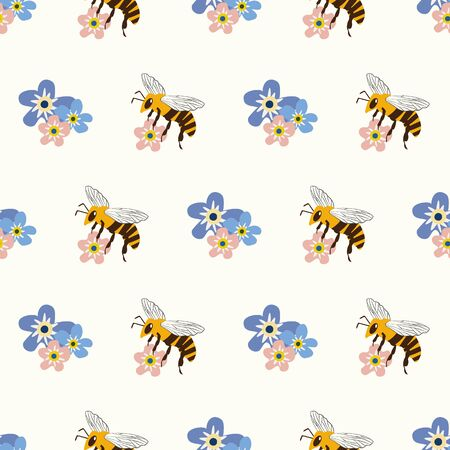 Honey bee and Forget-me-not flower vector seamless pattern background. Flying insect and pretty blue pink florals backdrop. Geometric garden bug design. Modern all over print for packaging, stationery