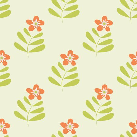 Retro wild meadow flower seamless vector pattern background. Simple orange florals with stem and leaves on green backdrop. Botancial geometric design. Modern all over print for wellbeing concept Illustration