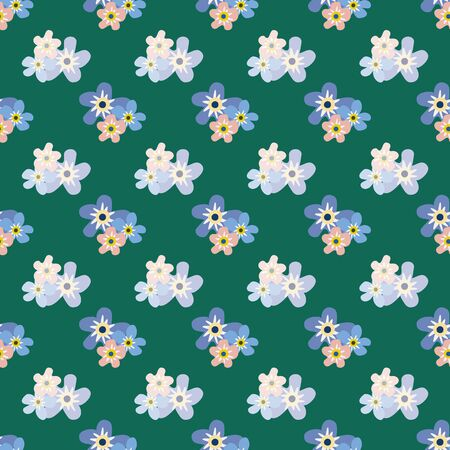 Wild meadow flowers seamless vector pattern background. Groups of Forget-me-not florals blue green backdrop. Botanical geometric design. Modern simple all over print for fabric, packaging, kitchen Illustration
