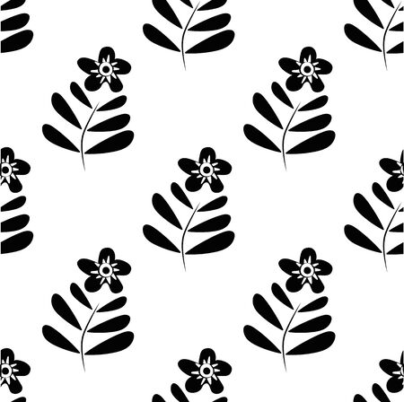 Black and white wild meadow flower seamless vector pattern background. Hand drawn florals with stem and leaves simple backdrop. Botancial geometric repeat. Modern all over print for wellbeing concept
