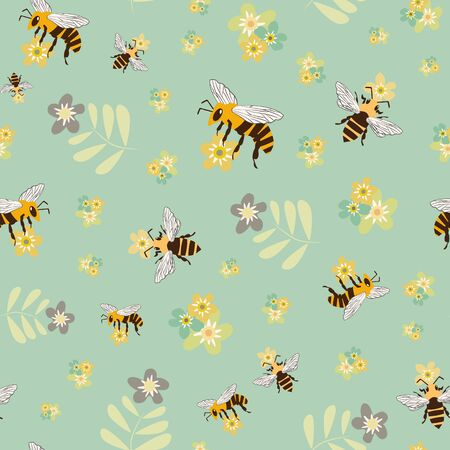 Vector honey bee and meadow flowers seamless pattern background. Retro colored backdrop with flying insect collecting pollen from florals. Folk vintage style all over print for fabric or stationery