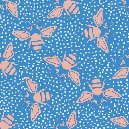 Honey bee vector seamless pattern background. Bright blue and pink silhouettes of hand drawn flying insect on dotted backdrop. Garden bug repeat. All over print for summer, wellness, baby products Illustration