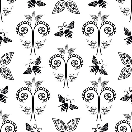 Stylized honey bee and flowers seamless vector pattern background. Formal backdrop with black and white flying insect and paisley style floral arrangements. Elegant geometric all over print.