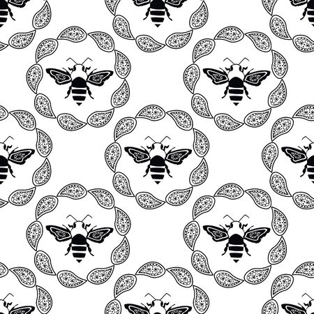 Stylized honey bee seamless vector pattern background. Formal black and white geometric backdrop with flying insect in round frames of paisley florals. Elegant vintage line etching style repeat
