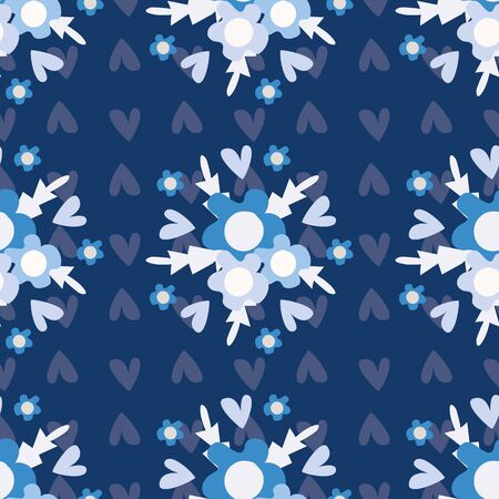 Geometric wild meadow flowers seamless vector pattern background. Backdrop of bouquets of hand drawn tonal blue Forget-me-not florals. Folk country style monochrome design. Modern all over print.