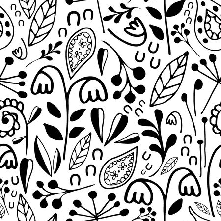 Wild meadow flowers seamless vector pattern background. Black and white dense millefleur repeat with hand drawn florals and paisley leaves. Busy folk style design. All over print for packaging.