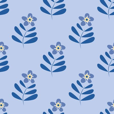 Blue wild meadow Forget-me-not flower seamless vector pattern background. Simple hand drawn florals with stem and leaves. Botancial geometric backdrop. Modern all over print for baby products