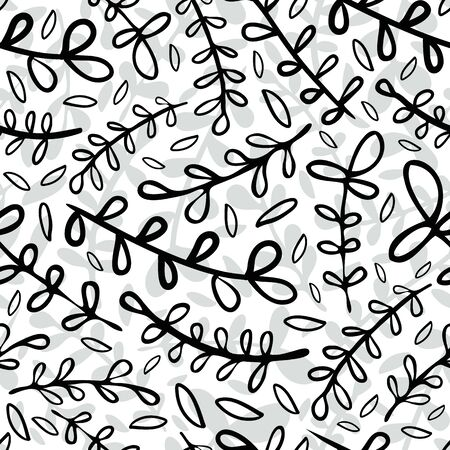 Abstract wild meadow grass seamless vector pattern background. Doodle botanical foliage black and white backdrop. Simple duotone folk country style design. Modern all over print for fabric, stationery