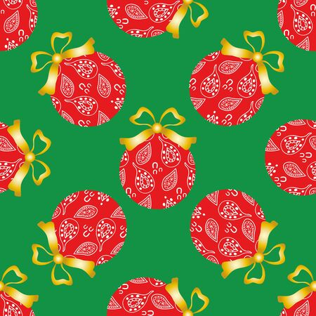 Cheerful paisley baubles vector seamless pattern background. Decorative Christmas tree ornaments with gold bows on green backdrop. Hand drawn doodle style all over print for seasonal holiday products.