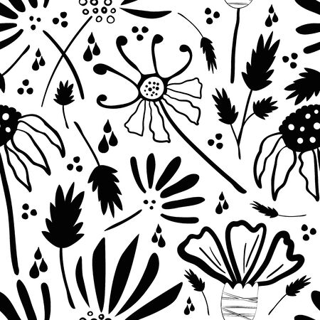Inky wild meadow flowers seamless vector pattern background. Hand drawn line art black and white dense millefleur repeat with mixed florals stems. Modern all over print for eco friendly packaging