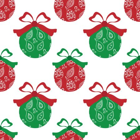 Cheerful paisley baubles vector seamless pattern background. A mix of red and green decorative Christmas tree ornaments on white backdrop. Hand drawn doodle style design For seasonal holiday products.