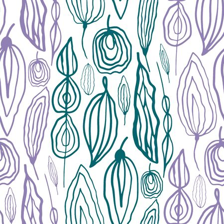 Teal purple wild meadow leaves seamless vector pattern background. Hand drawn line art with alternating colors that create a striped foliage effect Botanical all over print for eco friendly packaging