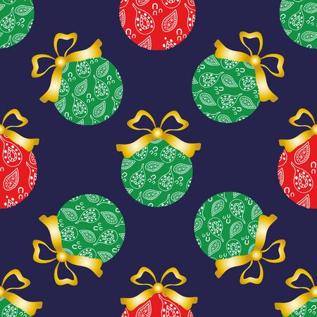 Cheerful paisley baubles vector seamless pattern background. Decorative Christmas tree ornaments with gold bows on dark backdrop. Hand drawn doodle style all over print for seasonal holiday products.. Vettoriali