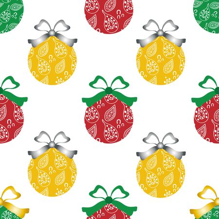 Cheerful paisley baubles vector seamless pattern background. Backdrop of red and yellow decorative Christmas ornaments with silver and green bows. Festivebackdrop. For seasonal holiday products