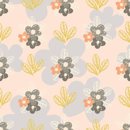 Wild meadow flowers seamless vector pattern background. Retro color small florals and leaves on textured backdrop. Mid-century geometric design. Pastel repeat for fabric, packaging, stationery