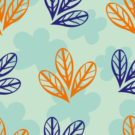 Wild meadow leaves seamless vector pattern background. Teal, orange, indigo trio of leaves on silhouette floral textured backdrop. Spacious geometric design. Repeat for wellness and spa concept Illustration
