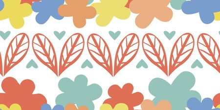 Vector border of wild meadow leaves and abstract flowers. Colorful seamless banner of hand drawn foliage arranged into heart shapes and silhouette blooms. Modern botanical design for edging, ribbon Illustration