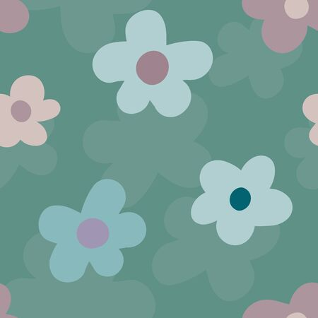 Wild meadow flowers seamless vector pattern background. Pink and teal large florals on textured backdrop. Naive style mid-century geometric design. All over print for fabric, packaging, stationery