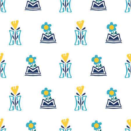 Modern forget-me-not and daffodil flowers in aztec style pots. Seamless vector pattern. Hand drawn blue and yellow florals and vases backdrop. Geometric botanical repeat design for wellness, packaging