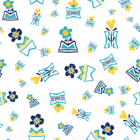 Modern forget-me-not and daffodil flowers in aztec style pots. Seamless vector pattern background. Hand drawn blue yellow florals and vases backdrop. Tossed botanical repeat for wellness, packaging Çizim