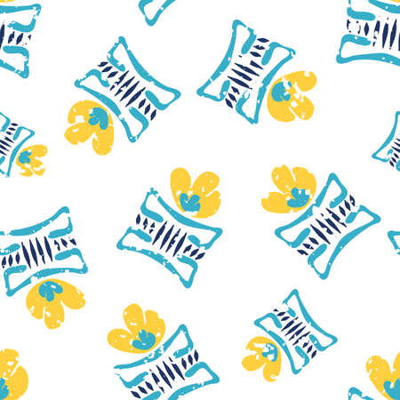 Modern daffodil flowers in aztec style pots. Seamless vector pattern background. Hand drawn yellow florals and blue vases backdrop with flecked texture overlay. Tossed botanical repeat for wellness