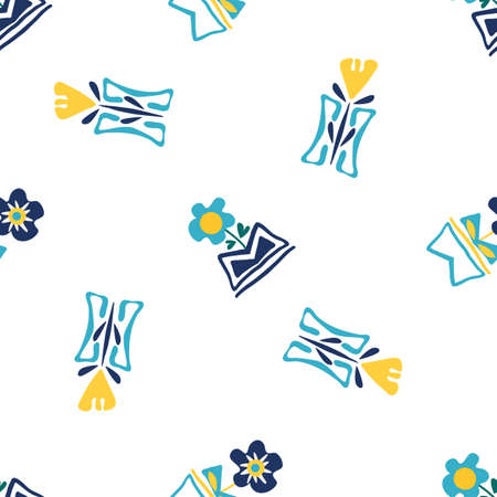 Modern forget-me-not and daffodil flowers in aztec style pots. Seamless vector pattern. Hand drawn blue and yellow florals and vases backdrop. Spacious botanical repeat design for wellness, packaging