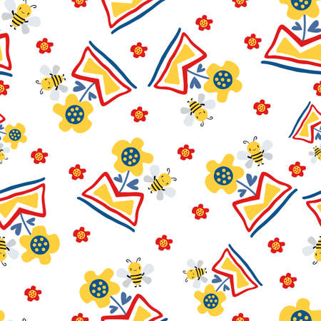 Kawaii honey bee and abstract daffodil flower in aztec motif vase. Seamless vector pattern background. Cute bug and floral colorful backdrop. Hand drawn all over print for summer, children products