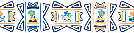 Aztec style seamless border with forget-me-not flowers. Bright blue and yellow banner in ethnic simple hand drawn style. Decorative geometric design. For ribbon, edging, trim, label, packaging