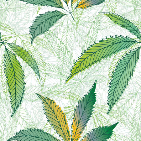 Cannabis leaves seamless vector pattern background. Hand drawn green and gold hemp foliage backdrop. Elegant textured marijuana design. All over print for wellness, health concept,packaging, print