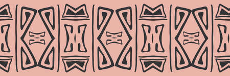 Simple aztec style seamless border in pink and black. Folk style ethnic or tribal banner in simple hand drawn stamp style. Decorative geometric design. For ribbon, edging, trim, label, packaging
