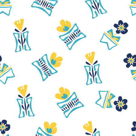 Modern forget-me-not and daffodil flowers in aztec style pots. Seamless vector pattern background. Hand drawn blue yellow florals and vases backdrop. Tossed botanical repeat for wellness, packaging Illustration
