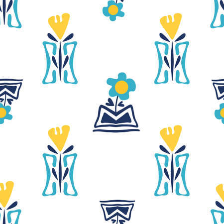 Modern forget-me-not and daffodil flowers in aztec style pots. Seamless vector pattern background. Hand drawn blue yellow florals and vases backdrop. Geometric botanical repeat for wellness, packaging