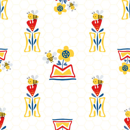 Vector Kawaii honey bee with sunflower, tulips in aztec motif flower pots on honeycomb background. Seamless pattern. Cute bugs and floral backdrop. Fun all over print for summer, children products