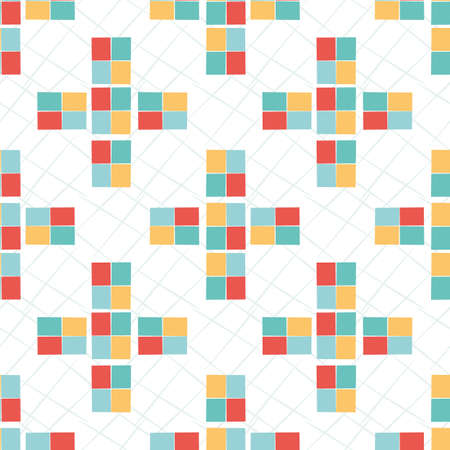 Geometric mosaic style vector seamless pattern background. Colorful modern tiled crosses on scribble texture backdrop. Bright yellow, teal, red and white repeat. Versatile abstract all over print