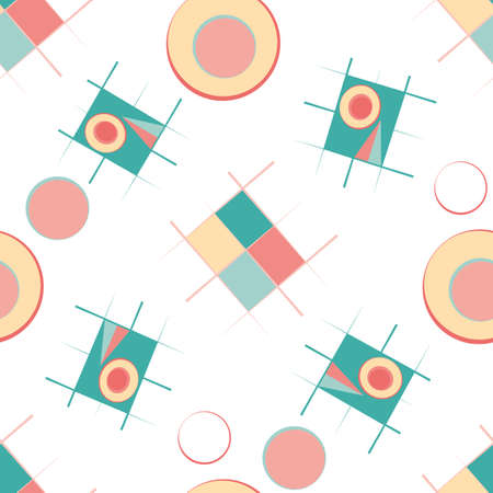 Bauhaus style vector seamless pattern background. Colorful teal, pink, yellow circles and rectangles scattered on white backdrop. Loose tossed repeat design. All over print for summer, holiday concept
