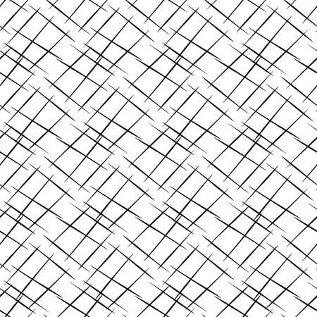 Vector hand drawn diagonal scribbled grunge lines in criss cross design. Seamless texture weave pattern background. Abstract black and white geometric grid repeat. Hatchwork all over print Illustration