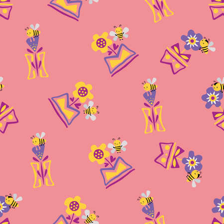 Kawaii honey bee with daffodils and forget-me-not flowers in in aztec motif vase. Seamless vector pattern background. Cute bugs and floral backdrop. Fun pink all over print for children products